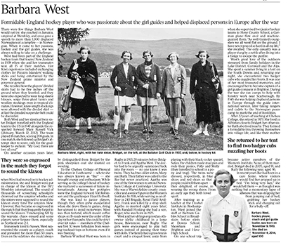 Bar West obituary The Times Dec 2014