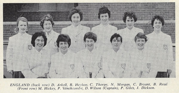 Rachael Heyhoe Flint in England team photo from Hockey Field vol 51 no 12 March 1964 low res